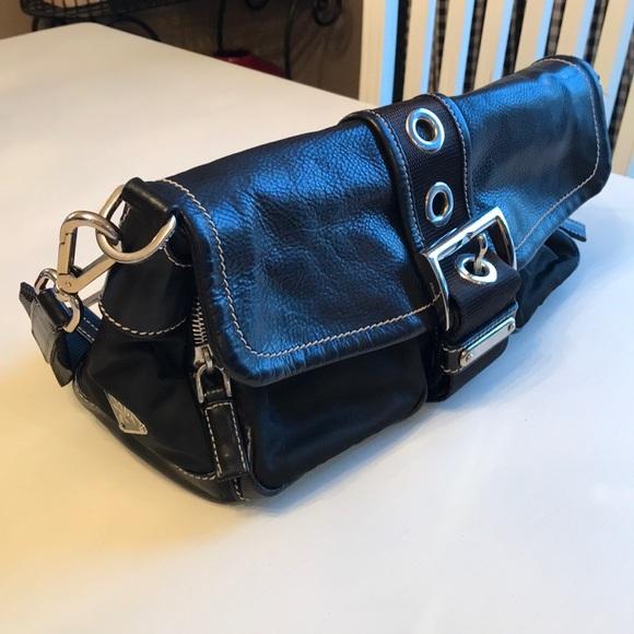 df7bcb54975130 Vintage PRADA nylon and leather black shoulder bag.  M_5a61e75c36b9de0a5f903d28